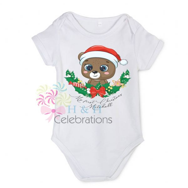 My 1st Christmas Bear Personalised Baby Vest